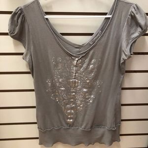 Charlotte Russe GRAY AND SILVER SHORT SLEEVE TOP